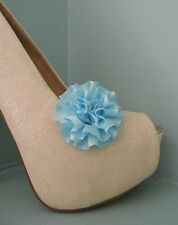 2 Small Pale Blue Rosette style Clips for Shoes