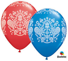"8 Bandana Latex Balloons 11"" Red Blue Western Cowboy Party Supplies"