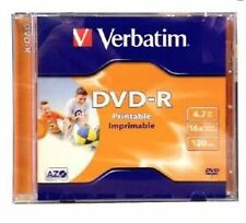 5 Verbatim DVD-R Inkjet Printable 16x 4.7GB Jewel Case Standard 43521