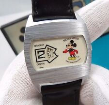 MICKY MOUSE, Bradley,Manual Wind,Jump Hour Digital, 70s,NIB,UNISEX WATCH,R18-15