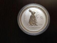 1999 Australia Rabbit Lunar (1 series)  $1 1oz .999 Pure Silver Bullion Coin BU