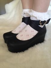 Liz Lisa Tralala Black Flatform Style Shoes Japan Kawaii Gyaru Lolita