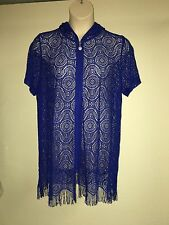 Catherines Bungalow Mesh Swim Cover Up 18/20 Womens Plus Size 1X Blue NWT $64