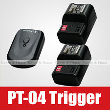 PT-04 Wireless Remote Flash Trigger Transmitter 2 Receiver fr Canon Nikon Series