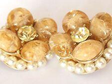 Vintage 1950's KRAMER designer Lucite Crystal Pearl Flower clip on earrings WOW!