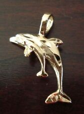 14K 14KT DOUBLE GOLD FILLED DOLPHIN AND BABY CHARM PENDANT