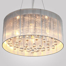 Modern Flush Mount Drum Pendant Crystal Light Chandelier Cylinder Shade Fabric