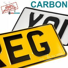 CARBON FONT x2 OBLONG PRESSED EMBOSSED CAR REG NUMBER PLATES 100% UK Road Legal