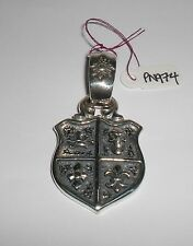 BILL WALL PN974 LARGE SHIELD CHARMS PENDANT BWL 925 STERLING SILVER