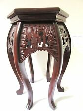 ANTIQUE CHINESE 6 SIDED TABLE STAND CARVED WOOD 1900 ASIAN LAMP END SIDE PLANT