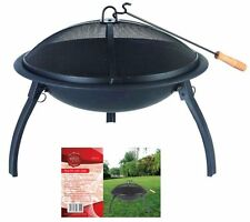 PORTABLE ROUND FIRE PIT WITH GRILL GARDEN OUTDOOR BURNER CAMPING BBQ BOWL COOKER