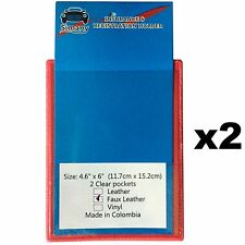 "2 Red 2-Pocket FLAT CAR INSURANCE REGISTRATION HOLDER 6x4.6""Embossed FauxLeather"