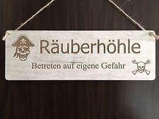 Türschild Deko Landhaus Vintage Shabby Retro Räuberhöhle Gefahr Dekoschild