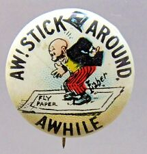 1910 Bud Fisher MUTT & JEFF Aw Stick Around Hassan Cigarettes pinback button *