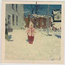 VINTAGE 60s Square PHOTO Little Toddler GIRL In Winter Outfit In SNOW