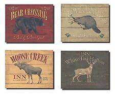 """RUSTIC Deer Bear Beaver & Moose Sign 10"""" x 8"""" Cabin Lodge Decor POSTER PRINT"""