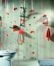Spirella Goldfish Orange Plastic Shower Curtain 100  PVC Transparent Orange 180