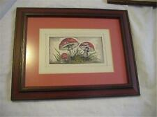 Original Watercolor Painting Wild Mushrooms Amantia muscaria Framed & Matted