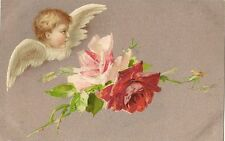 CARTE POSTALE POST CARD FANTAISIE ANGE FLEUR ROSE ANGEL FLOWER