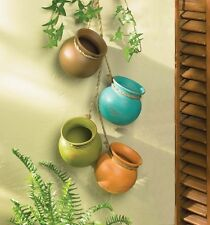 Colorful Distressed Old Tyme Pottery Decorative Hanging Pots Rope Kitchen Decor