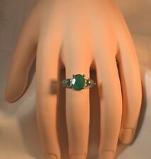 GLAMOROUS 4.55ct. NATURAL EMERALD  &  GENUINE DIAMOND SIZE 8  COCKTAIL RING
