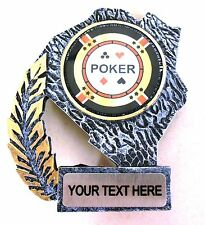 SILVER RESIN POKER CHIP CARDS ACE ROYAL FLUSH TROPHY AWARD FREE ENGRAVING T8626