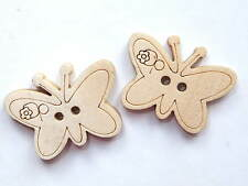 Wood Buttons - 22mm x 17mm/1mm hole - Butterfly - Natural Colour - Pack of 10