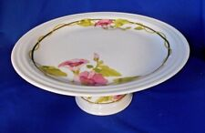 """Cake Stand The Toscany Collection Portsmouth 4 1/2"""" tall White Pink flowers"""