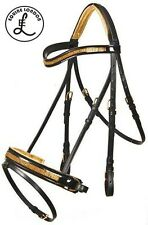 RAME-ORO Show Cavallo bridle-crystal Browband-INGLESE DRESSAGE SELLA-Full