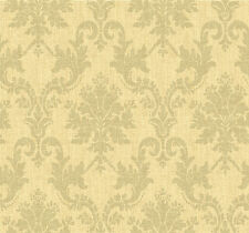 """12""""/31cm Wallpaper SAMPLE Textured Damask in Soft Yellow"""
