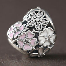 BLOOMS CHARM 925 Solid Sterling Silver Poetic Flowers Pink White Pave Bead
