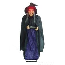 Animated Bobblehead Witch Prop 5ft, Creepy Witch Halloween Decoration