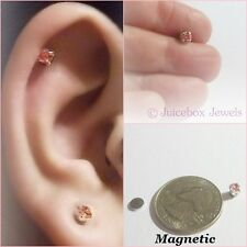 MAGNETIC 4mm PINK Glass Rhinestone Stud Fake Non-Pierced Earrings 1 Pair #M183