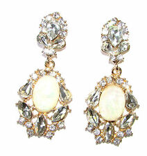 Silver Cream Faux Fire Opal Silver Art Deco Earrings 1920s Chandelier Gold 1108