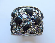 Fashion Bracelet -Stretchy- silver toned-black stones- rhinestones-large