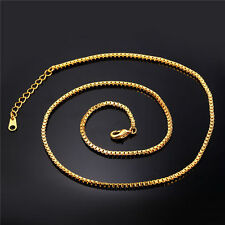 "Lot of 20--Gold 30"" length, Box (4mm wide) Chains, 24kt,Yellow Gold Filled,"