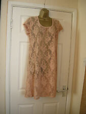 18 REDOUTE SHEER LACE DRESS NUDE + COTTON SLIP SUMMER HOLS BEACH COVER UP DRESS
