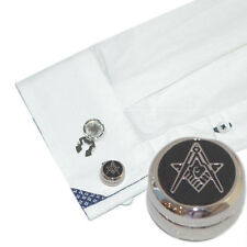 Rhodium Plated Masonic G Cuff BUTTON COVERS Freemason Cufflinks Present Gift Box