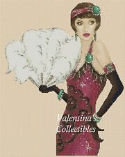 Counted Cross Stitch ART DECO LADY with White Feather Fan COMPLETE KIT #20vc-84e