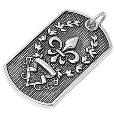 Fleur De Lise Dog Tag Pendant Filigree Design Stainless Steel 1.8""