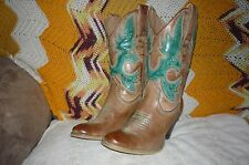 Women 7.5 M Very Volatile Rio Grande Tan & Green Western Cowboy Fashion Boots