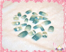 Starsire White Hand Made Bows on Blue Japan Acrylic Fake 24 3D Shiny Full Nails