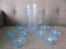 Tupperware Watercolor Preludio Acrylic Set of 8 Blue Punch Cups & pitcher-no lid