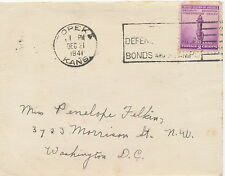 "USA 1941, 3 C for Defence with slogan of ""TOPEKA / KANS."" on fine cover"