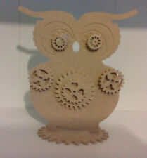 4mm Thick MDF Wooden Standing steam punk   Owl craft blank, plaque