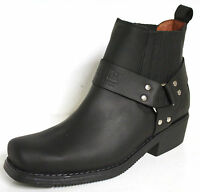 JOHNNY BULLS WESTERN MEN'S COWBOY / BIKER STYLE LEATHER ANKLE BOOTS 4809 Black