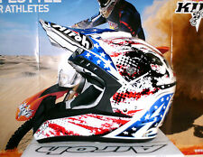 AIROH cr901 PATRIOT CASCO CROSS YAMAHA YZ-F NUOVO ENDURO QUAD L BLU ROSSA BIANCA SUOMY