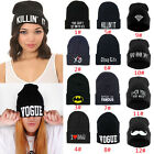 Women's Men's Hat Unisex Warm Winter Knit Cap Fashion Hip-hop Beanie Hats Black