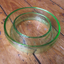 "Green Depression Glass Posy Ring Flower Dish Vase 6"" 15cm Diameter Vintage Retro"