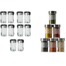 10x IKEA Barattolo portaspezie DROPPAR Vetro Acciaio inox Bicchiere per spezie